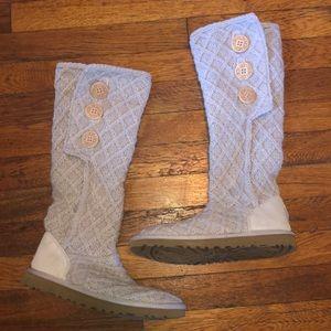 Ugg lattice cardy sweater boots sz 7 # 3066 cream